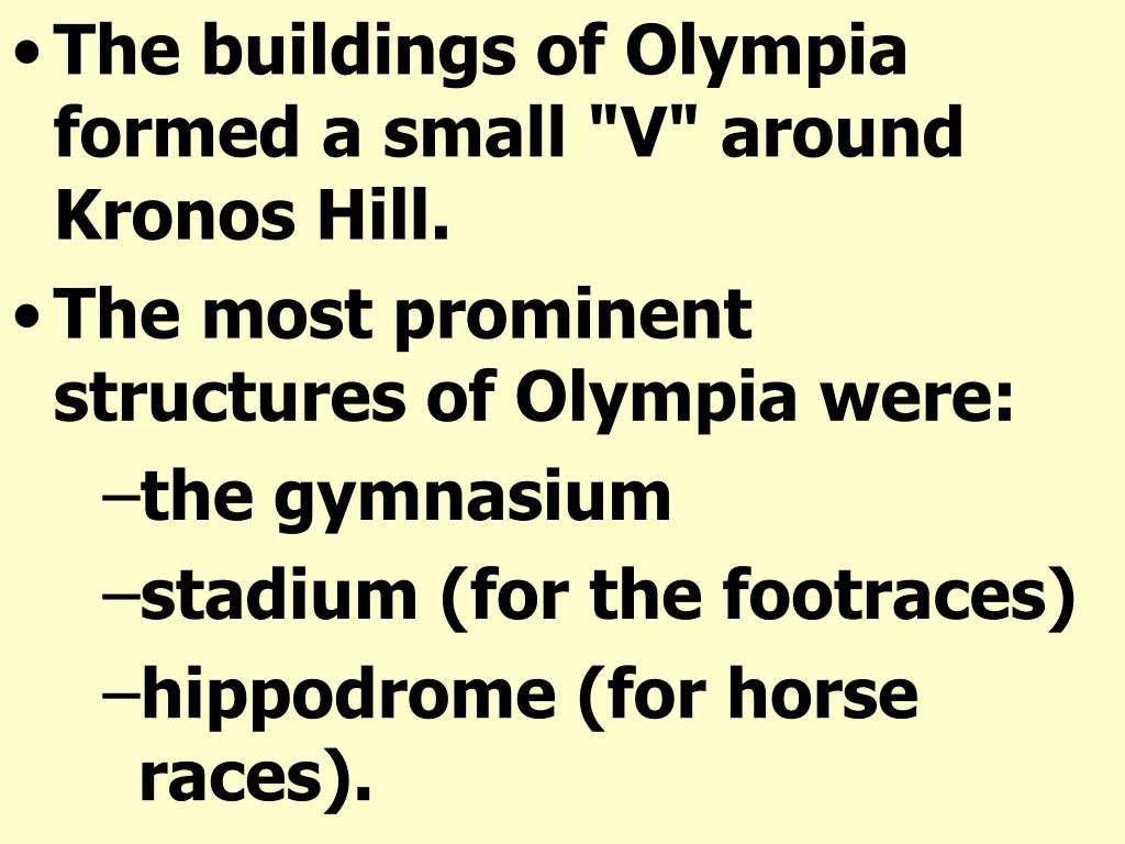 "The buildings of Olympia formed a small ""V"" around Kronos Hill."