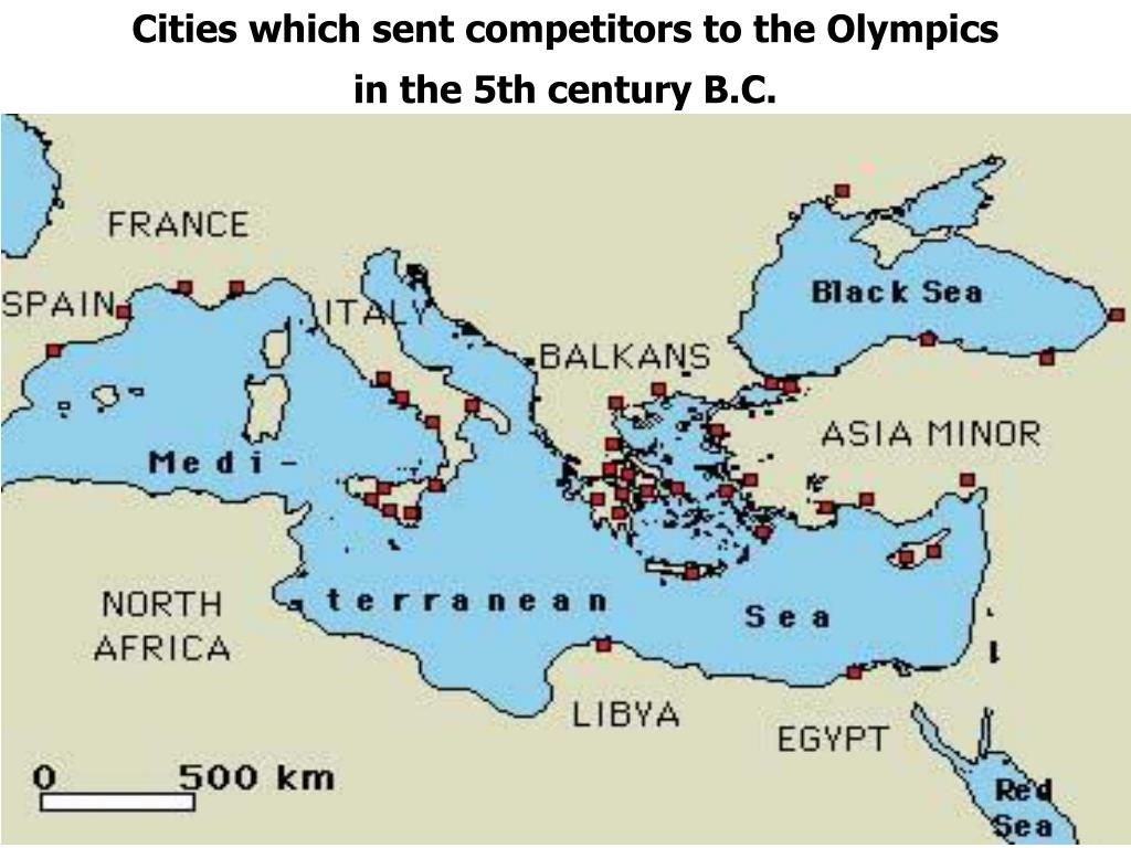 Cities which sent competitors to the Olympics