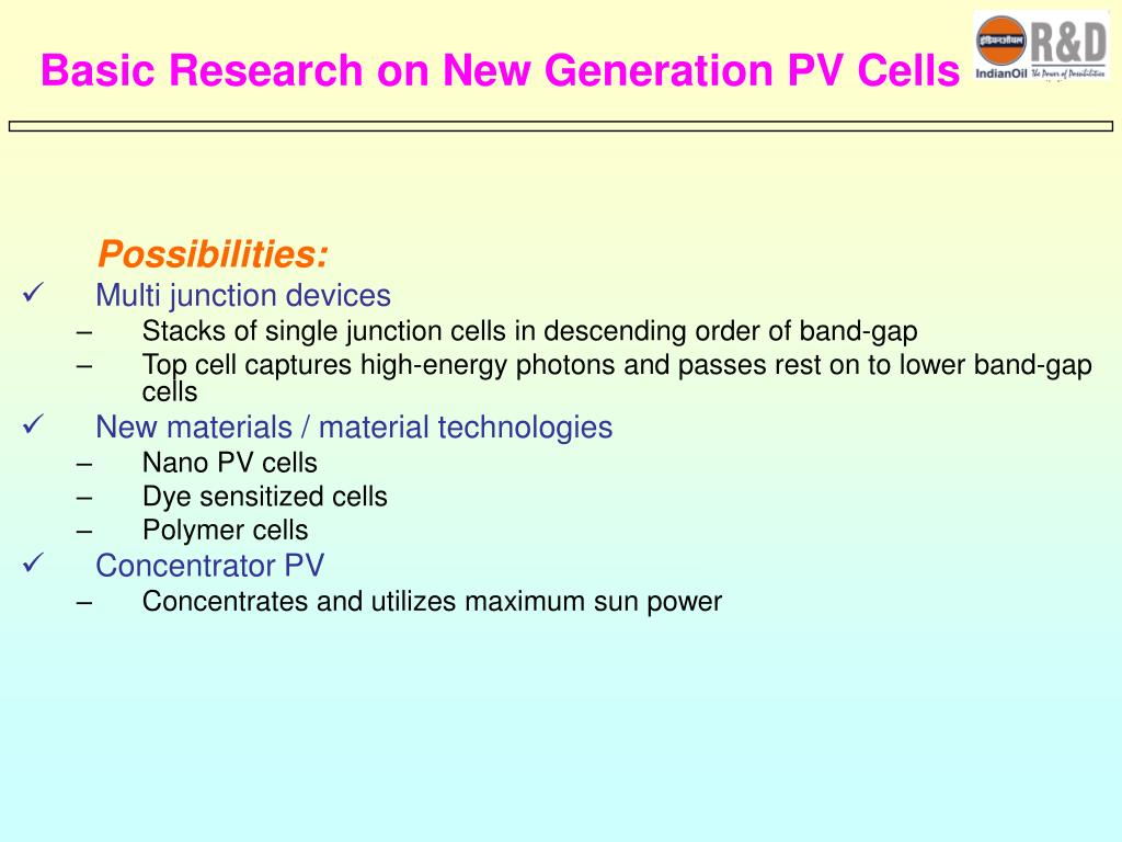Basic Research on New Generation PV Cells