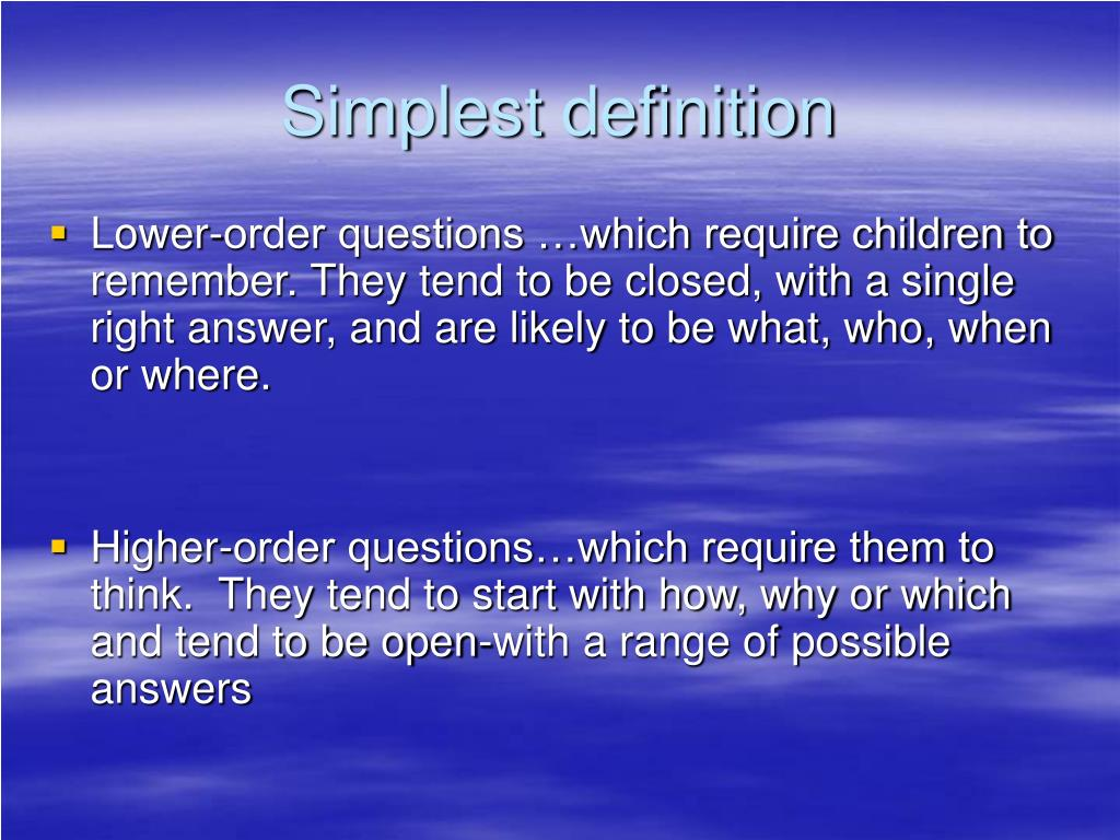 Simplest definition