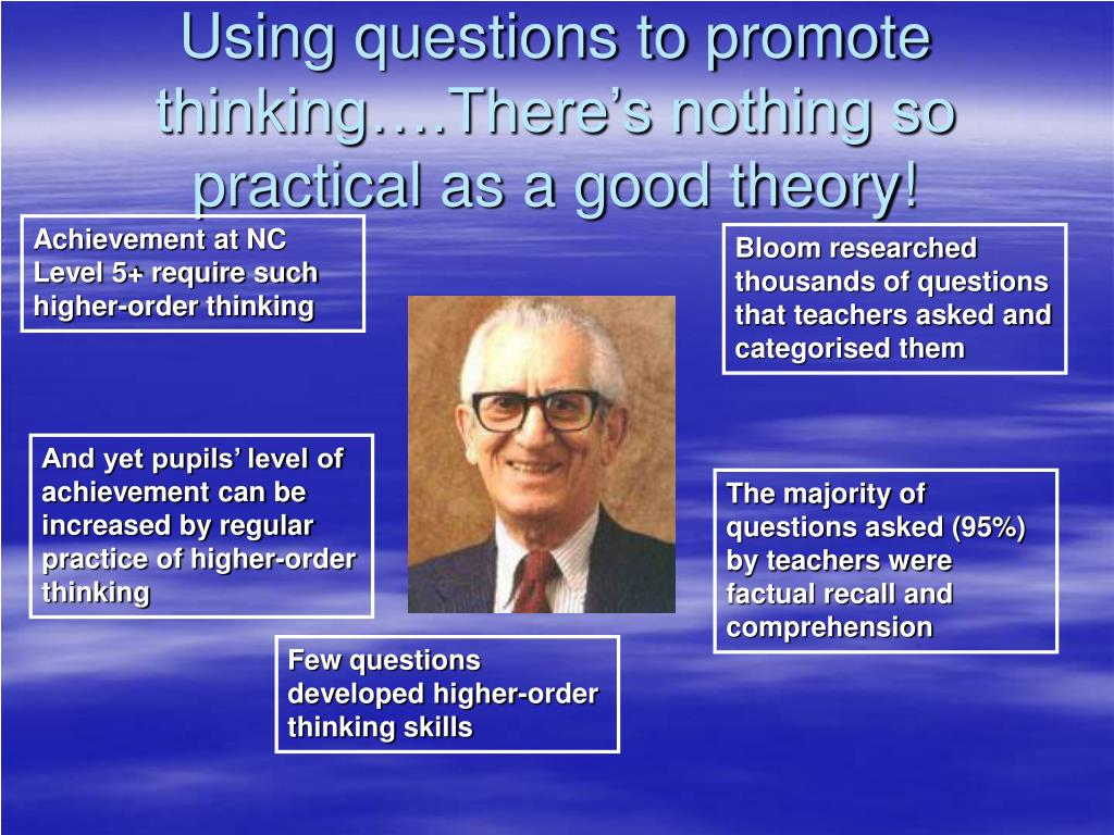 Using questions to promote thinking….There's nothing so practical as a good theory!