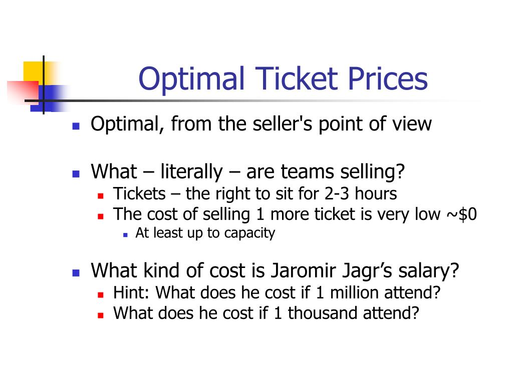 Optimal Ticket Prices