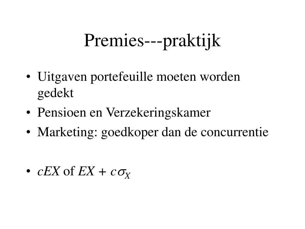 Premies---praktijk