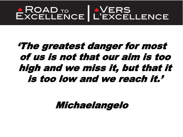 'The greatest danger for most of us is not that our aim is too high and we miss it, but that it is...