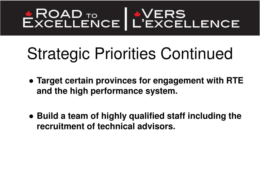 Strategic Priorities Continued