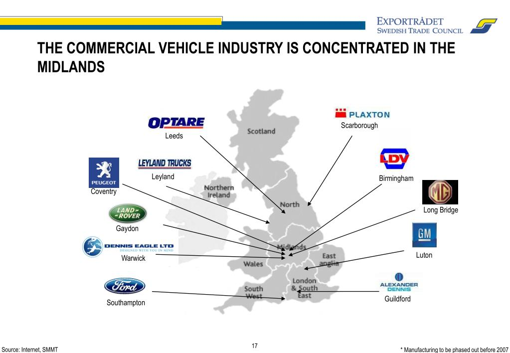 THE COMMERCIAL VEHICLE INDUSTRY IS CONCENTRATED IN THE MIDLANDS