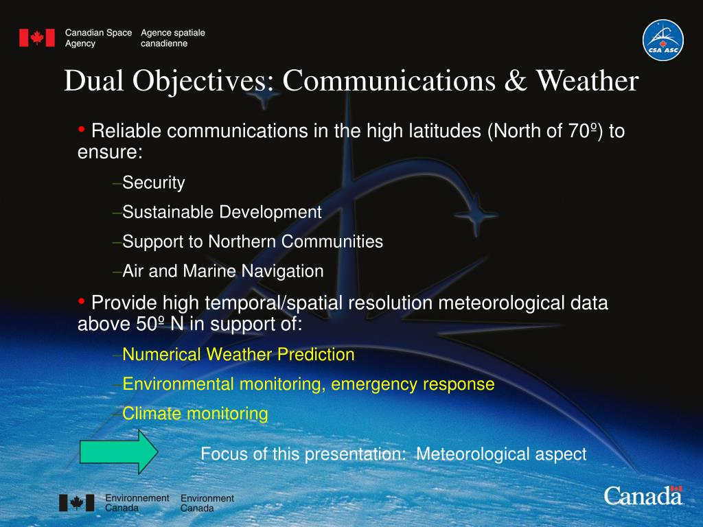 Dual Objectives: Communications & Weather