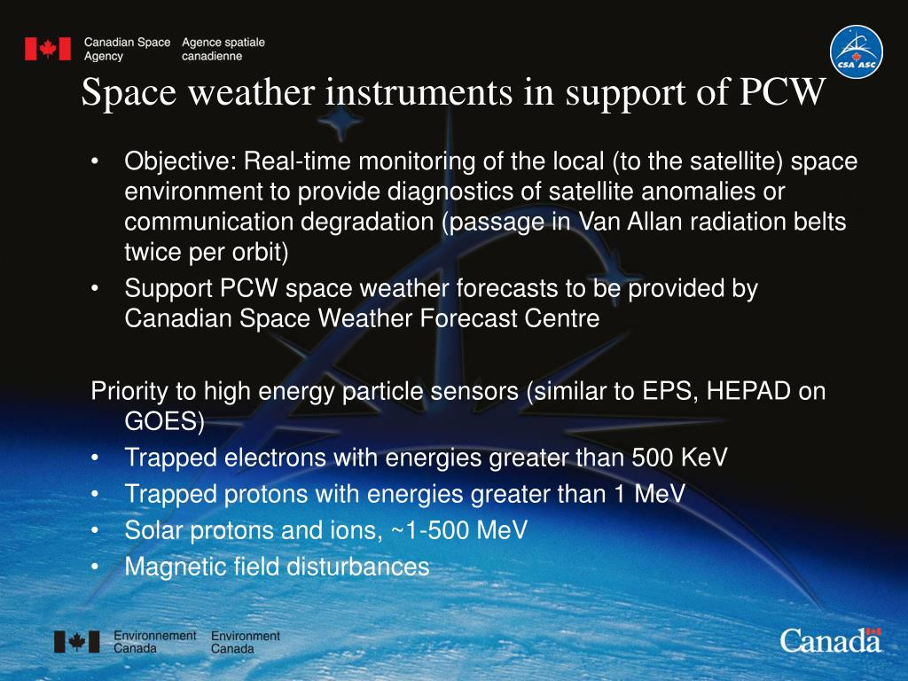 Space weather instruments in support of PCW