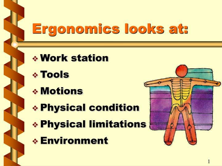 Ergonomics looks at:
