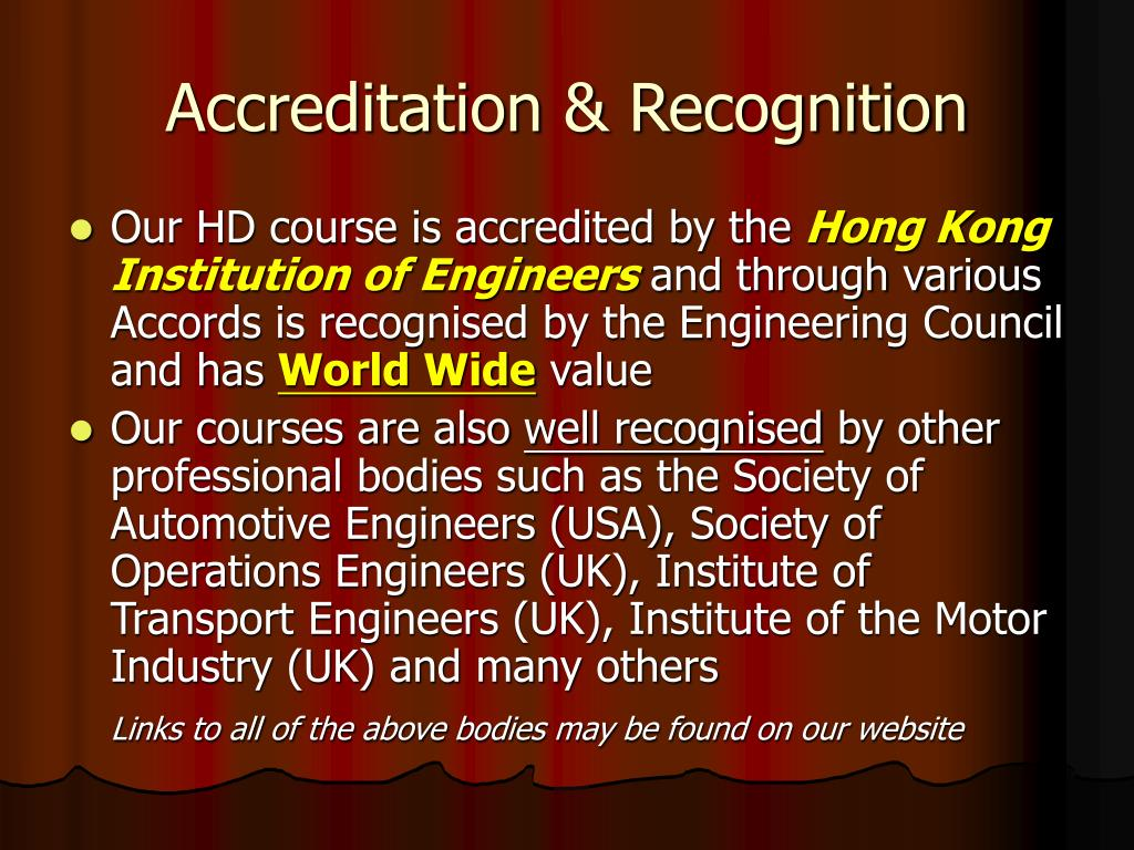 Accreditation & Recognition