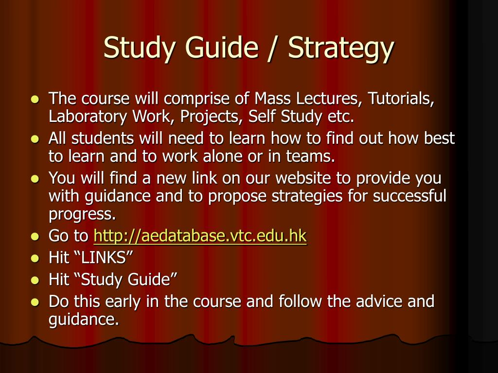 Study Guide / Strategy