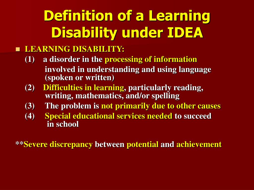 Definition of a Learning Disability under IDEA