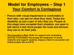 model for employees step 1 your comfort is contagious