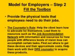 model for employers step 2 fill the toolbox