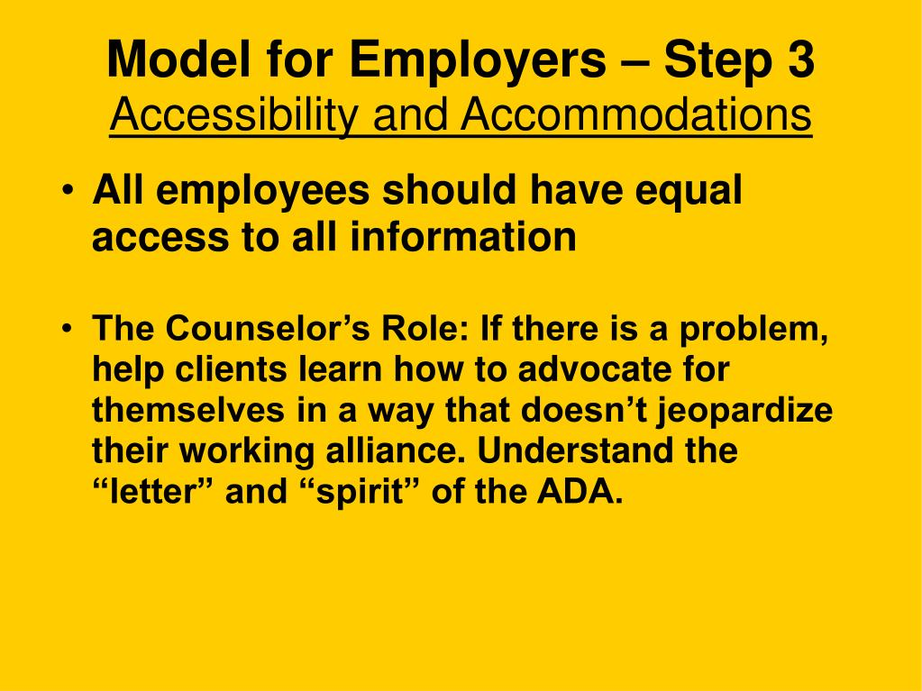 Model for Employers – Step 3