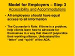 model for employers step 3 accessibility and accommodations