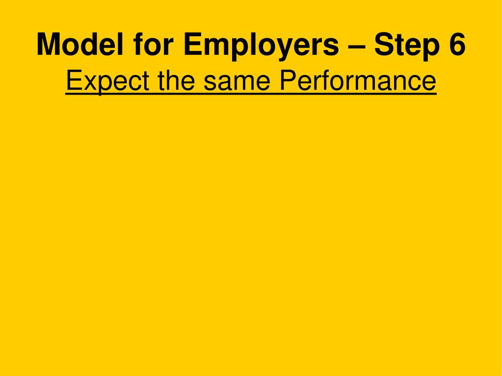 Model for Employers – Step 6