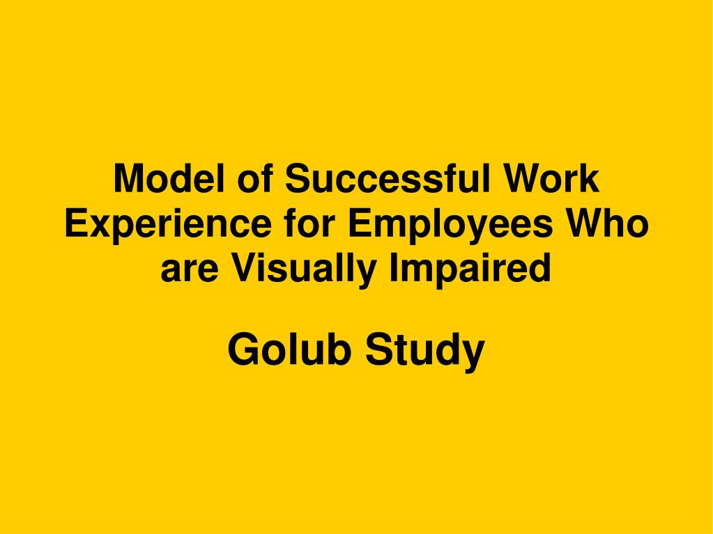 Model of Successful Work Experience for Employees Who are Visually Impaired