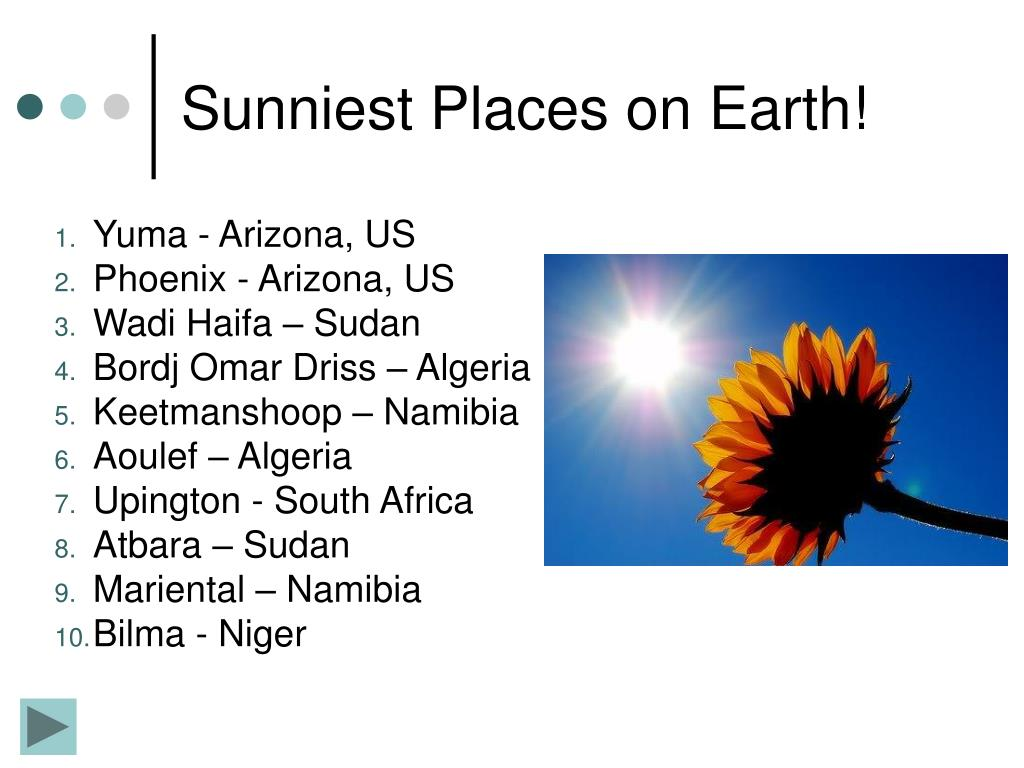Sunniest Places on Earth!