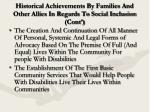 historical achievements by families and other allies in regards to social inclusion cont6