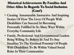 historical achievements by families and other allies in regards to social inclusion cont9