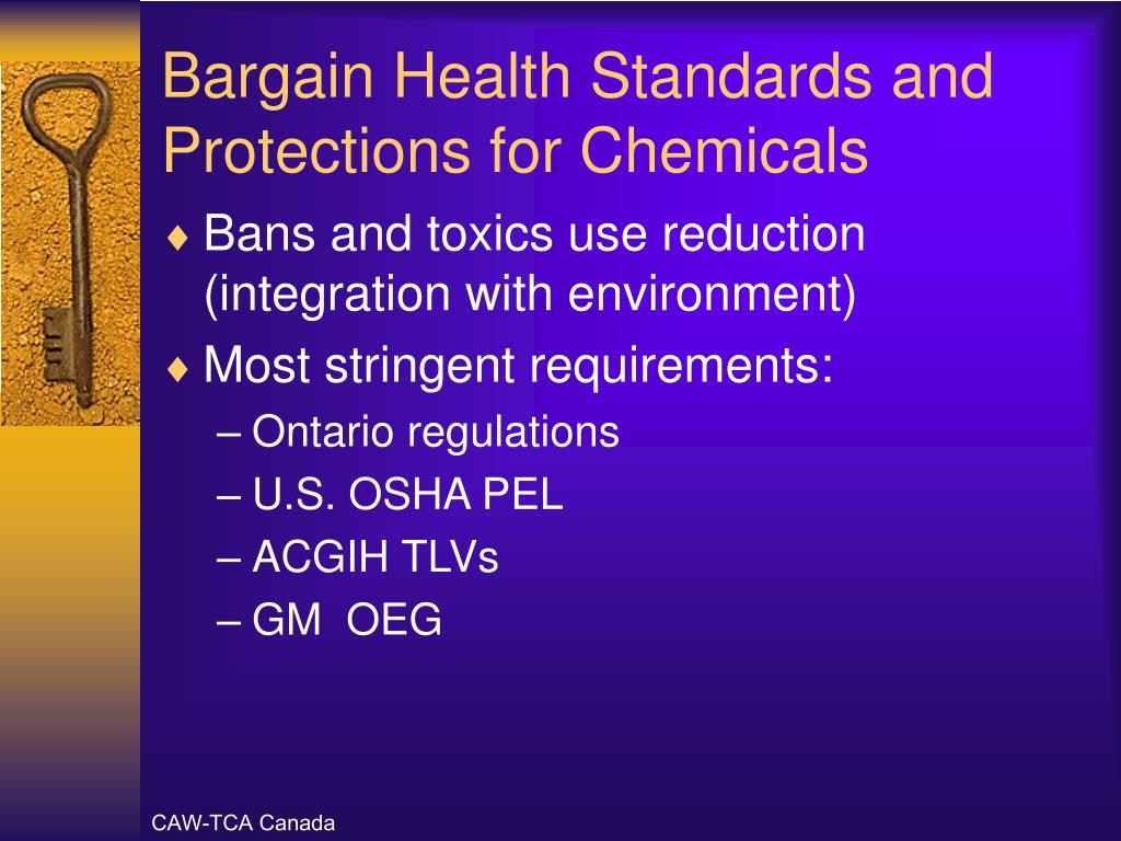 Bargain Health Standards and Protections for Chemicals