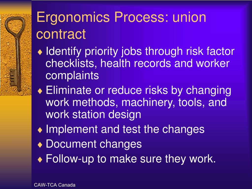 Ergonomics Process: union contract