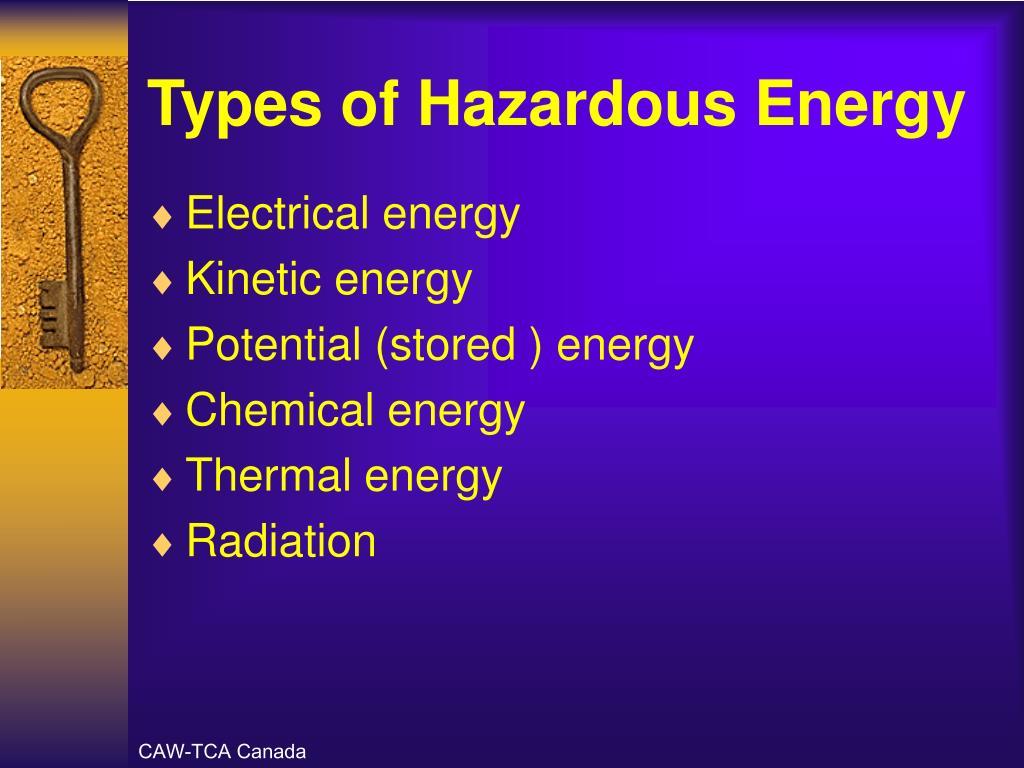 Types of Hazardous Energy