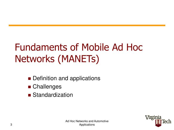 Fundaments of mobile ad hoc networks manets