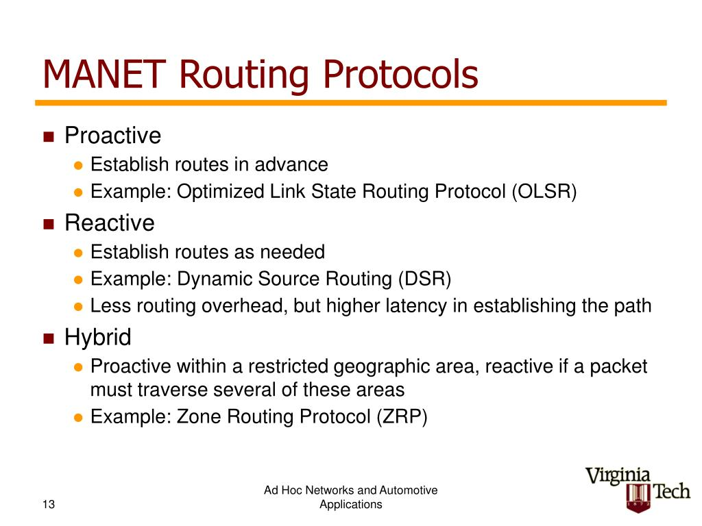 MANET Routing Protocols