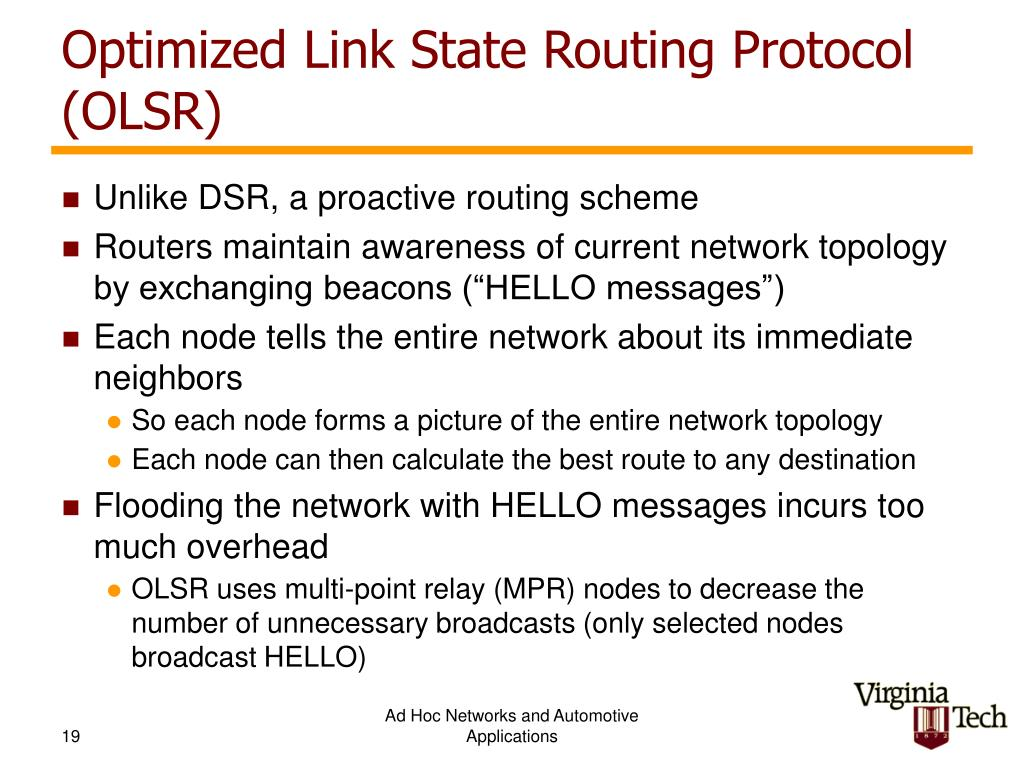 Optimized Link State Routing Protocol (OLSR)