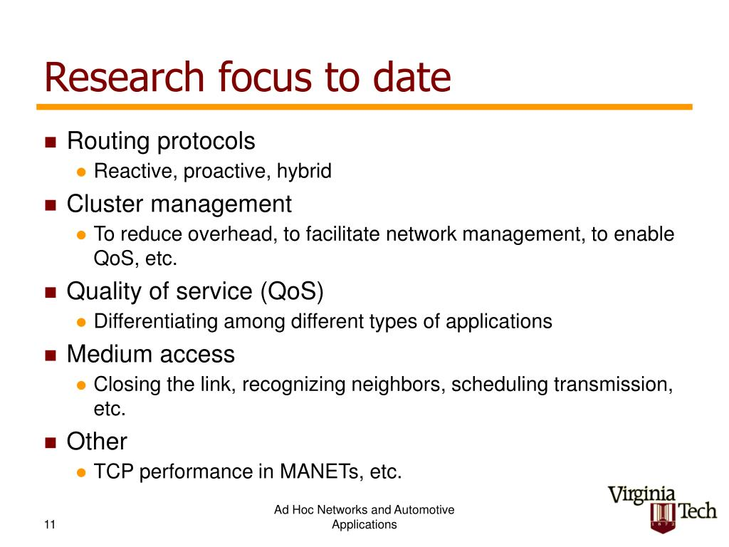 Research focus to date