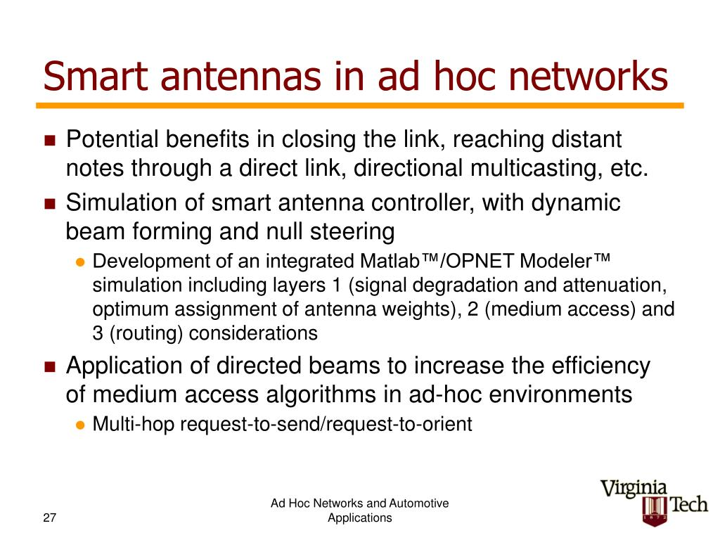 Smart antennas in ad hoc networks