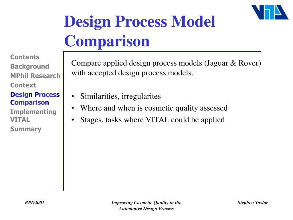 Design Process Model Comparison