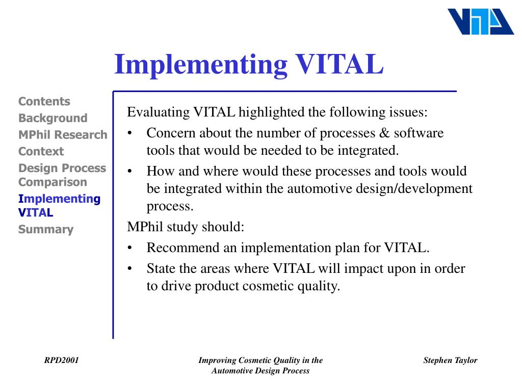 Implementing VITAL