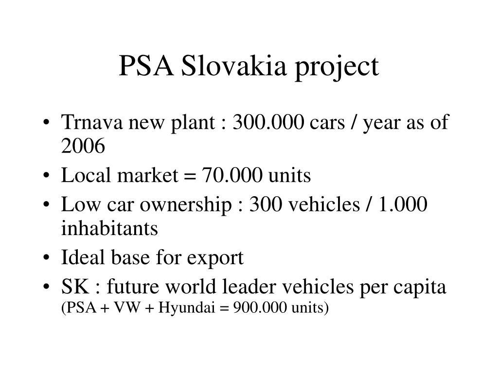 PSA Slovakia project