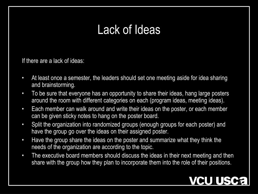 Lack of Ideas