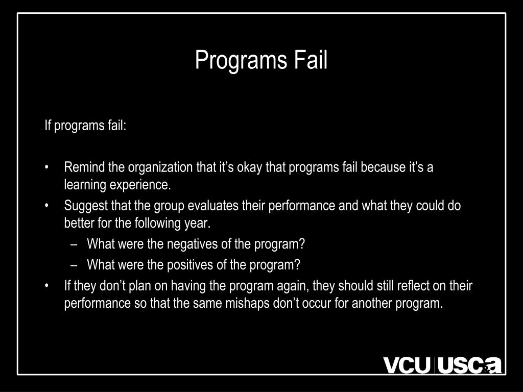 Programs Fail