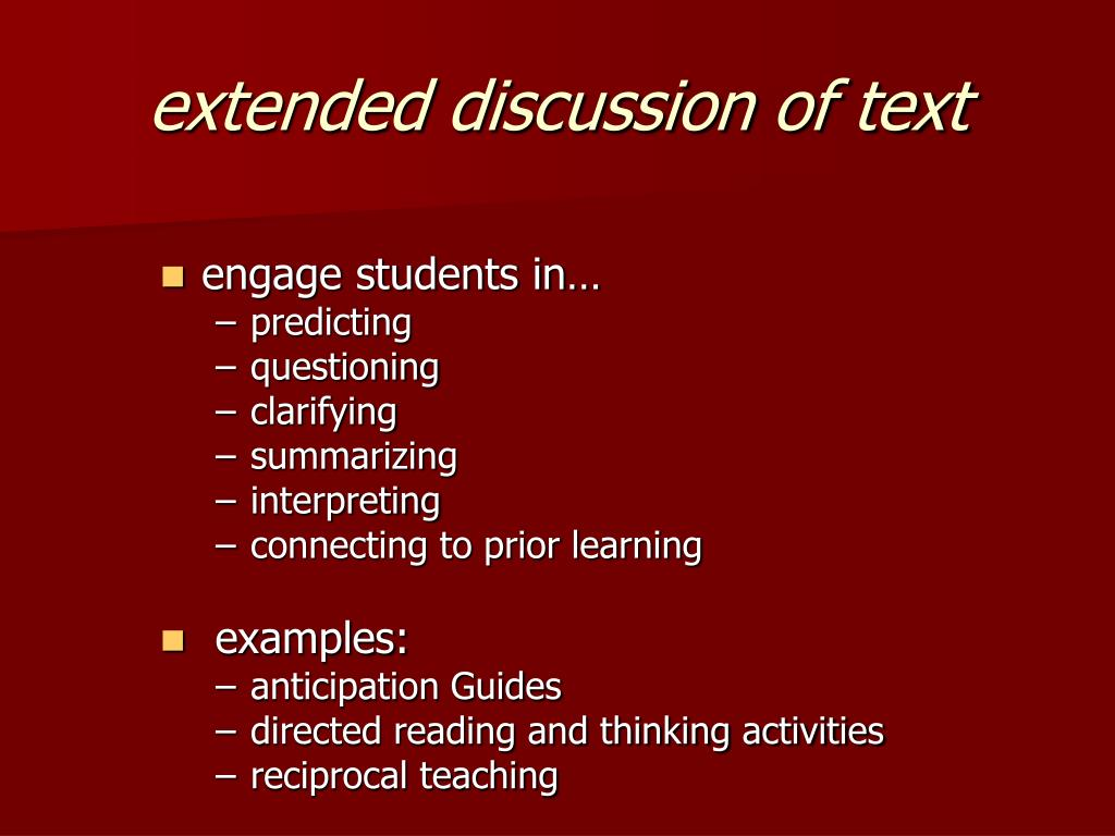 extended discussion of text