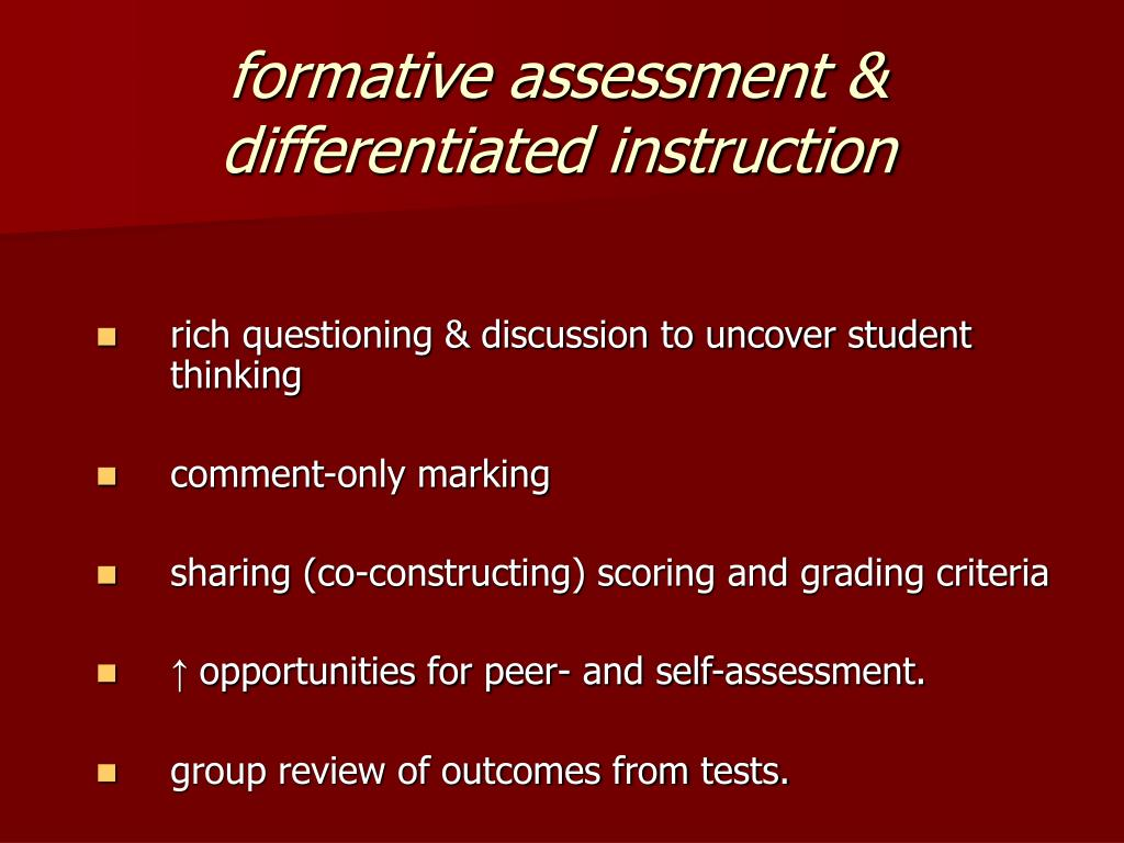 formative assessment &