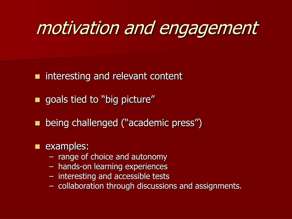 motivation and engagement