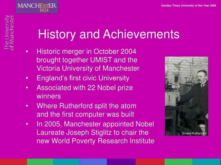 History and Achievements