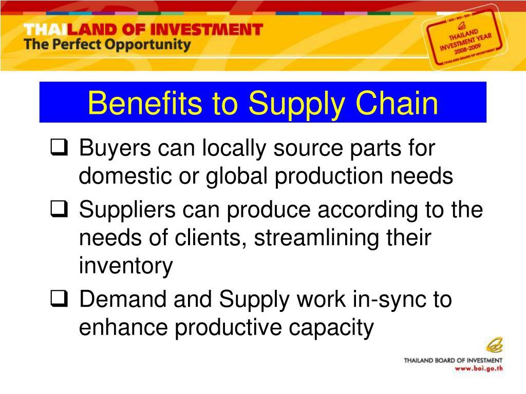 Benefits to Supply Chain