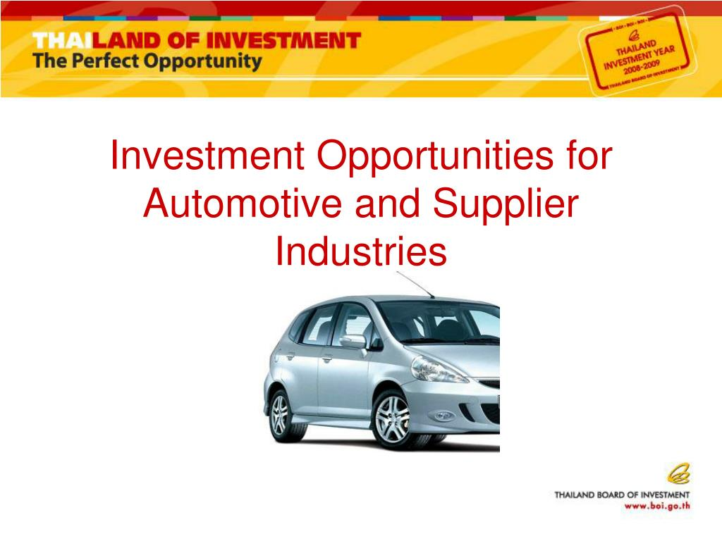 Investment Opportunities for Automotive and Supplier Industries