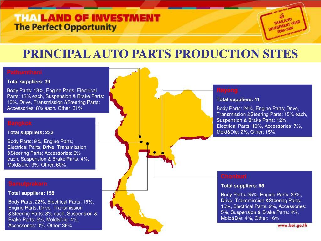 PRINCIPAL AUTO PARTS PRODUCTION SITES