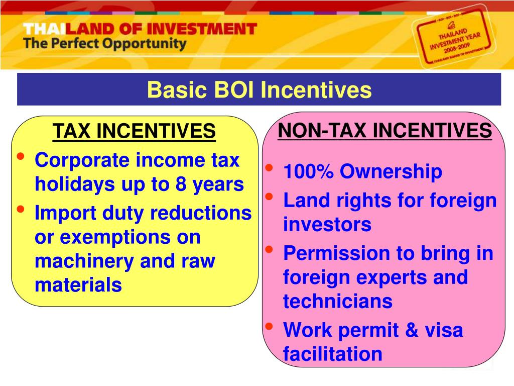 Basic BOI Incentives