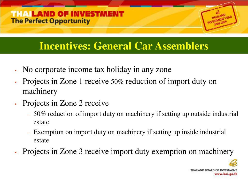 Incentives: General Car Assemblers