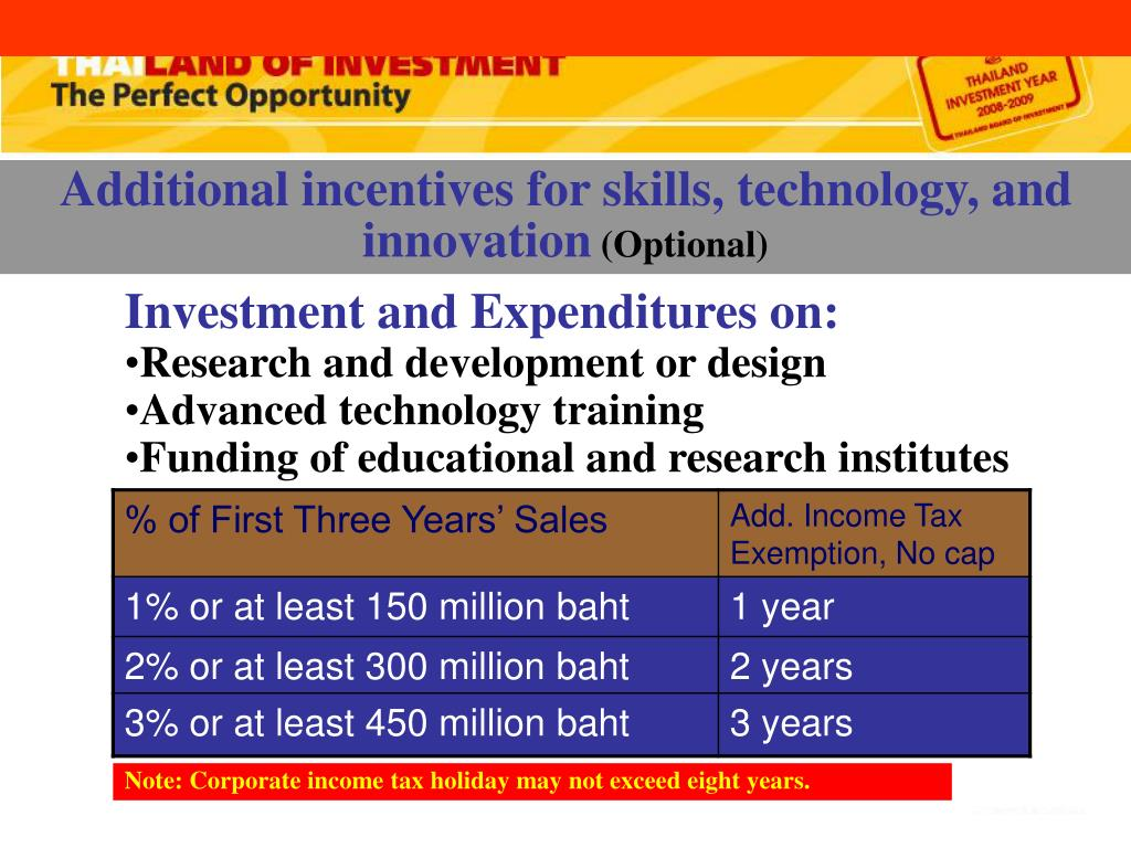 Additional incentives for skills, technology, and innovation