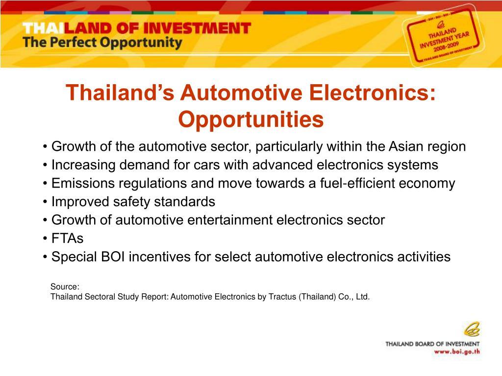 Thailand's Automotive Electronics: Opportunities