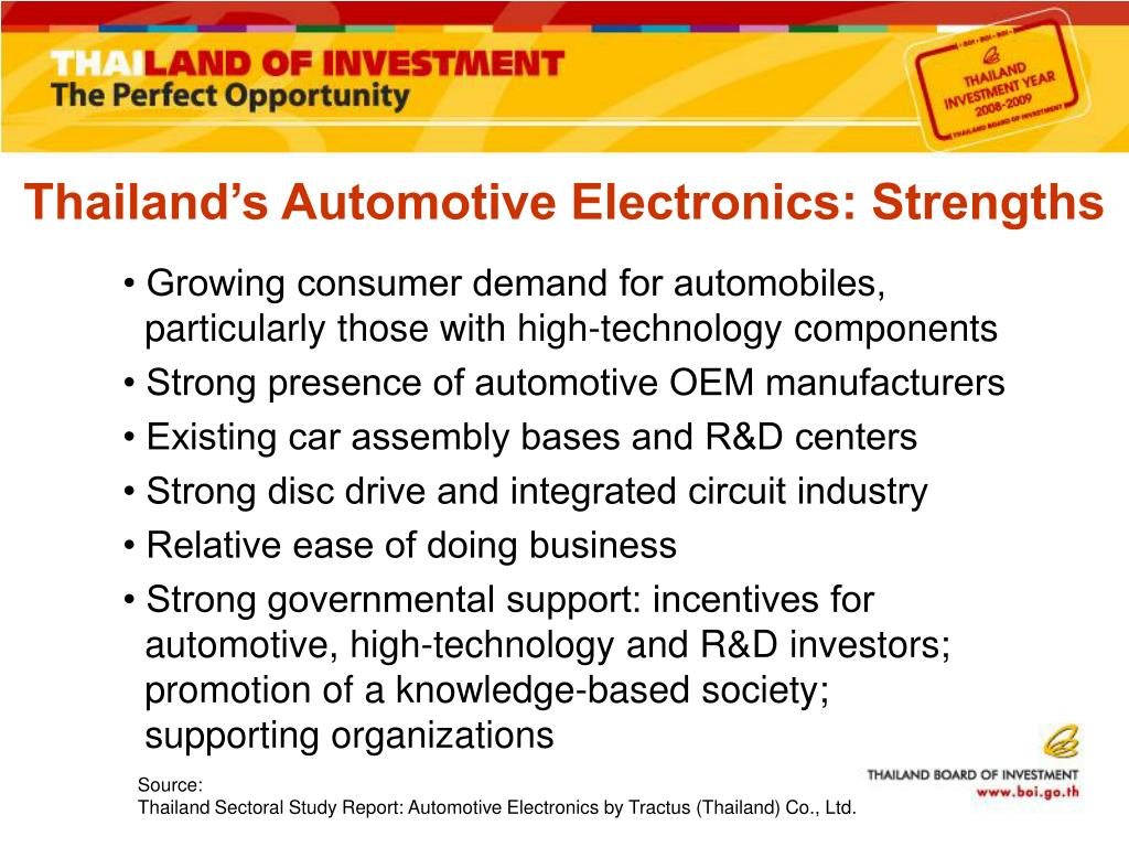• Growing consumer demand for automobiles, particularly those with high-technology components